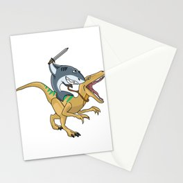 shark riding dino trex dinosaur animal tshirt sword new Stationery Cards