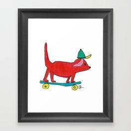 Skater Dog Framed Art Print