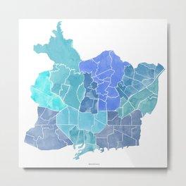 Barcelona city map (tones) Metal Print