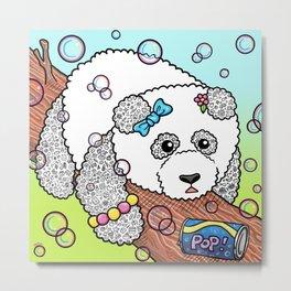Cute Panda Bubble Pop Doodle green version Metal Print