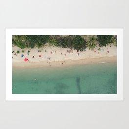 Aerial Secret Beach Koh Phangan Thailand Art Print