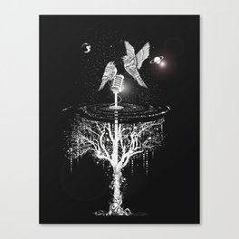 Two birds with microphone Canvas Print