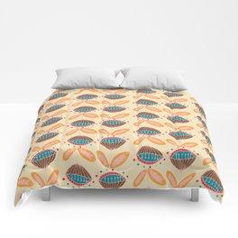 Mid Century Beige Floral Pattern Comforters