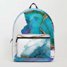 Abstract Marble Mermaid Gemstone With Gold Glitter Backpack