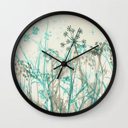 Abstract Botanical Wall Clock