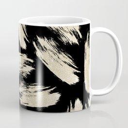 Modern black gold abstract glitter brushstrokes Coffee Mug