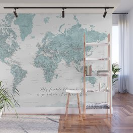 Where I've never been detailed world map in blue Wall Mural