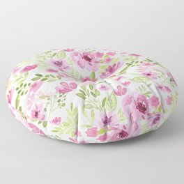 Watercolor/Ink Sweet Pink Floral Painting Floor Pillow