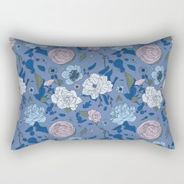 Lovely Seamless Floral Pattern With Subtle Poodles (Hand Drawn) Rectangular Pillow