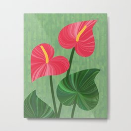 A Pair Of Anthurium Hearts Metal Print