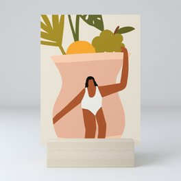 Woman on Vase Mini Art Print
