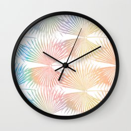 San Remo - Italian Palm Leaves Rainbow Color Wall Clock