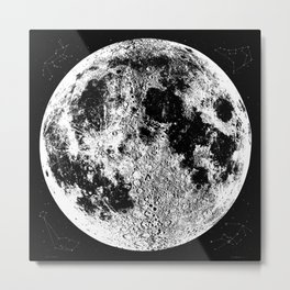 Black + White Full Moon Print, by Christy Nyboer Metal Print