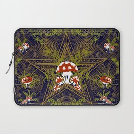 Witches fly agaric ornament. Book of shadows, witch grimore book of alchemical symbols, magic symbol Laptop Sleeve