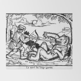 Werewolf Hunting medieval style Throw Blanket