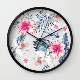 hibiscus, orchids and palm leaves seamless pattern Wall Clock