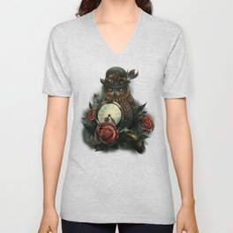 Sir Owl. Steampunk Unisex V-Neck