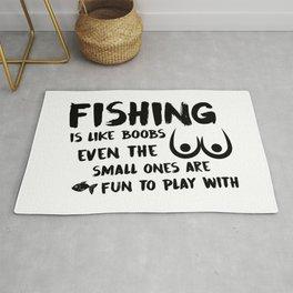 Fishing Is Like Boobs Rug