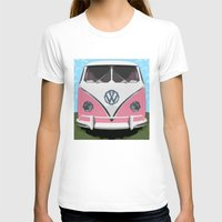 woodstock T-shirts featuring The Pink  VW Love Bus of Peace  by BruceStanfieldArtist illustrator
