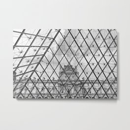 Louvre (Black and White) Metal Print