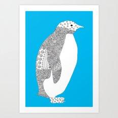 Light blue-Penguin Art Print