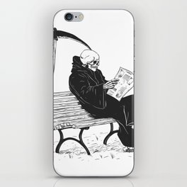 Grim reaper reading newspaper - cartoon skeleton - dark skull iPhone Skin