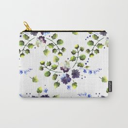 Watercolor decorative blue flowers heart Carry-All Pouch