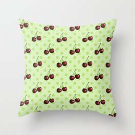 CHERRIES ON MINT GREEN Throw Pillow