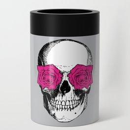 Skull and Roses | Grey and Pink Can Cooler