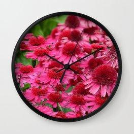 FUCHSIA PINK ECHINACEA GARDEN FLORAL Wall Clock
