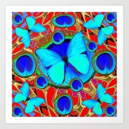 Red Fantasy Turquoise Butterflies Peacock Pattern Eyes Art Art Print