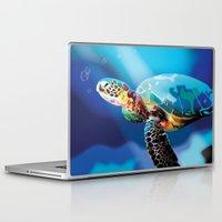 sea turtle Laptop & iPad Skins featuring Sea Turtle by Natasha Alexandra Englehardt