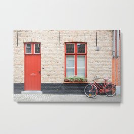 Red Door and Bike, Bruges Metal Print