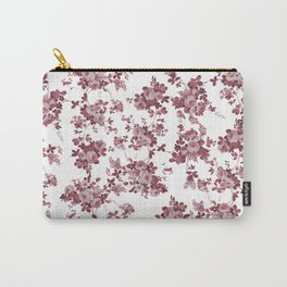 Elegant pastel pink marsala red roses floral pattern Carry-All Pouch