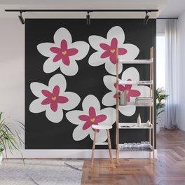 Pink Plumeria Lei (Black) Wall Mural
