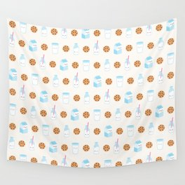 Milk and Cookies Pattern on Cream Wall Tapestry