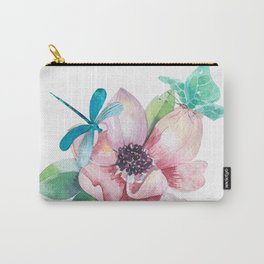 Butterfly and Dragonfly with Flowers Carry-All Pouch