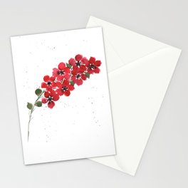 Red Floral Watercolor Stationery Cards