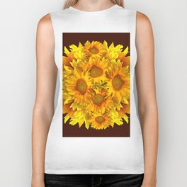 YELLOW SUNFLOWERS CHOCOLATE GARDEN ART Biker Tank