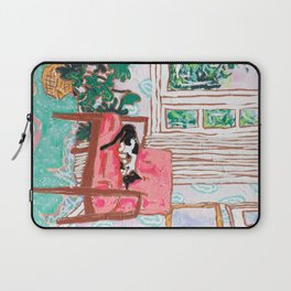 Little Naps - Tuxedo Cat Napping in a Pink Mid-Century Chair by the Window Laptop Sleeve