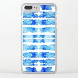 Indigo Watercolor Shibori Clear iPhone Case