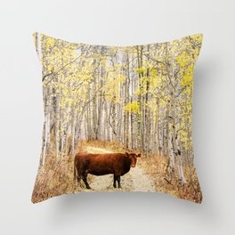 Cow in aspens Throw Pillow
