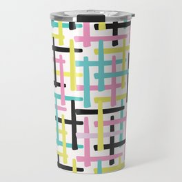 Criss Cross Weave Hand Drawn Vector Pattern Background Travel Mug