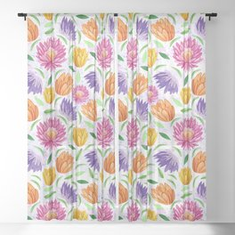 Cactus flowers Sheer Curtain