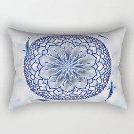 8 Koi Lotus Mandala in Blue Rectangular Pillow