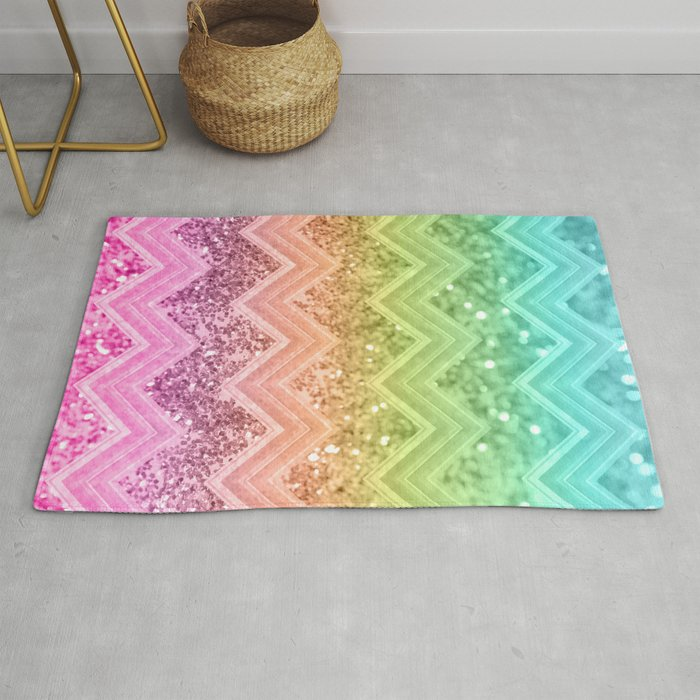 88d9e06575f7 Rainbow Glitter Chevron #1 #shiny #decor #art #society6 Rug by ...