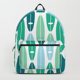 Vintage Surf Boards in Turquoise, Teal and Blue Backpack