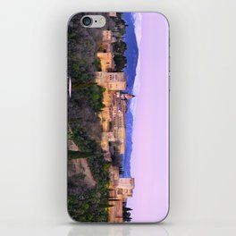 La Alhambra, Sierra Nevada and Granada. At pink sunset iPhone Skin