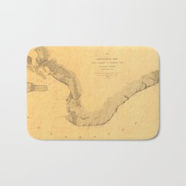 Map of Galveston Bay 1851 Bath Mat