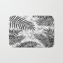 Black palm leaves on marble Bath Mat
